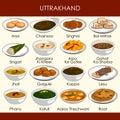 Illustration of delicious traditional food of Uttarakhand India