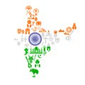 Easy to edit vector illustration indian map cultural object Royalty Free Stock Photos