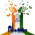 Monument and Landmark of India on Indian Republic Day celebration background