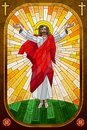 Easy to edit vector illustration stained glass painting jesus christ Stock Photography