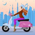 Easy to edit vector illustration of woman biking in urban city Stock Photo
