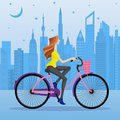 Easy to edit vector illustration of woman cycling in urban city Royalty Free Stock Image