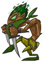 Easy warrior scout sketch fantasy character tree Stock Images