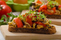 Eat clean vegetarian toast with vegetable healthy dinner a panini mediterranean vegetables and herbs Royalty Free Stock Photography