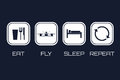 Eat Fly Sleep Repeat Icons. Funny schedule for racing quadrocopter pilots Royalty Free Stock Photo