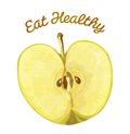 Eat healthy apple foods template that reads and has an on it Royalty Free Stock Photography
