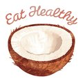 Eat healthy coconut foods template that reads and has a on it Royalty Free Stock Photo