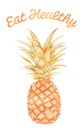 Eat healthy pineapple foods template that reads and has a on it Royalty Free Stock Photography