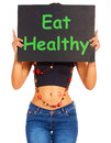Eat Healthy Sign Shows Eating Well Stock Photo
