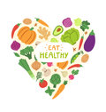 Eat healthy vegetable heart with sign Stock Image