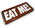 Eat me candy bar wrapper offensive insult phrase the words on a chocolate to encourage you to indulge in a snack or to you with an Royalty Free Stock Photos