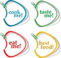 Eat me, taste me, cook me and best food stickers Royalty Free Stock Photo