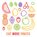 Eat more fruits motivational vector card Royalty Free Stock Photo