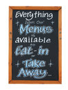 Eat in and and takeaway menu sign isolated on white background Royalty Free Stock Photo