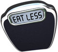 Eat less words scale lose weight diet the on the display of a to illustrate losing on a by eating fewer calories and fatty foods Stock Photo