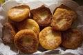Eatable freshly fried pie with potato filling Royalty Free Stock Photos