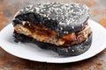 Eaten black burger Royalty Free Stock Photo
