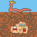 Eathworm maze a game for children and adults find your way into the room Stock Photography