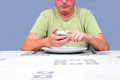 Eating alone gentleman waiting at a table waiting to eat Royalty Free Stock Images
