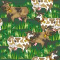 Eating cows on dark gray farm life seamless patter happy free run sunny summer day animal messy background pattern Stock Photos