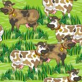 Eating cows on green farm life seamless pattern happy free run sunny summer day animal messy background Royalty Free Stock Image