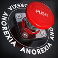 Eating disorder anorexia nervosa concept red push button over black background blur effect and urgency stop disorders Royalty Free Stock Photography