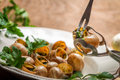 Eating fried snails with garlic butter on old wooden table Stock Photos