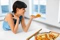 Eating Italian Food. Woman Eating Pizza. Fast Food Nutrition. Li Royalty Free Stock Photo