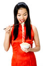 Eating noodles Stock Photography