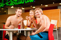 Eating in restaurant at public swimming pool Stock Photography
