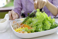 Eating salad healthy meal a girl with fork and knife about to eat delicious Royalty Free Stock Photo