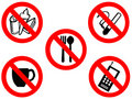 Eating smoking prohibited signs Royalty Free Stock Photo