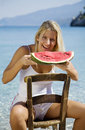 Eating water melon Royalty Free Stock Photo