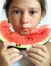 Eating watermelon Stock Image