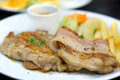 Eatting pork steak grilled close to empty Stock Photography