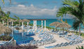 Eautiful natural tropical landscape ocean view fragment of luxury modern theatrical swimming pool with at cuba cayo coco island Stock Photography