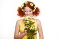 Eautiful smiling redhead ginger woman Royalty Free Stock Image