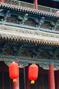 Eave and red lanterns the chinese archaic building Stock Photos