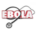 Ebola d word stethoscope cure treat disease health care in red letters on a doctor s to illustrate treatment of ror virus Royalty Free Stock Photography