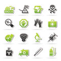 Ebola pandemic icons vector icon set Royalty Free Stock Images