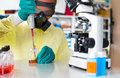 Ebola virus biopharmaceutical drug research in biochemical lab Stock Images