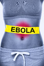 Ebola virus infection text on woman stomach symbolizing patient symptoms inlcudes nausea vomiting diarrhea and stomach pain Royalty Free Stock Photography