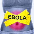 Ebola virus infection text on woman stomach symbolizing patient symptoms inlcudes nausea vomiting diarrhea and stomach pain Stock Photo