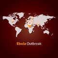 Ebola virus outbreak minimalistic template design outbreaks concept illustration on a world map Stock Images