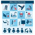 Ebola virus prevention infographics with symptoms and procedures Royalty Free Stock Images