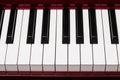 Ebony and ivory keys of red piano Royalty Free Stock Photo