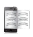 Ebook reader smartphone illustration design over a white background Royalty Free Stock Photo