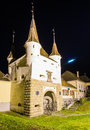 Ecaterina gate in brasov romania kronstadt transylvania at night Stock Images