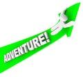 Eccitazione di person riding arrow up fun di avventura Immagini Stock Libere da Diritti