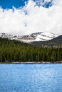 Echo lake on mt evans colorado view of the snow capped summit of seen from the blue waters of mount is one of the top travel Royalty Free Stock Photos